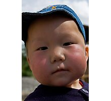 Curious, cute Kyrgyz kid... Photographic Print