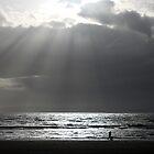 Dog Walker Ayr Beach Scotland by Stuart Kirby