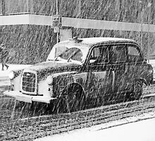 London Taxi in the Snow by DavidGutierrez