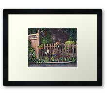 Flowerpots Hanging on a Fence Framed Print