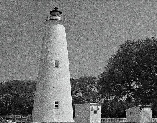 Ocracoke Lighthouse and Out Buildings by Michael Rubin