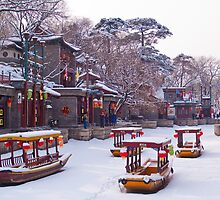 Snow at Suzhou Street, Summer Palace, Beijing, China by imagekinesis