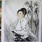 original oil painting art-portrait of chinese girl by hongtao-art