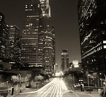 Downtown Los Angeles at Night Brown by Daisy Yeung