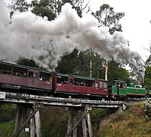 Puffing Billy crossing the Trestle Bridge by kathiemt