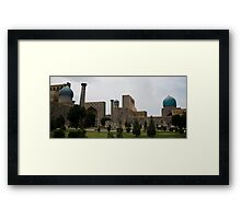 Registan Square from behind Framed Print