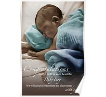Newborn Baby Boy Remembering His Sister Poster