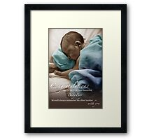 Newborn Baby Boy Remembering His Brother Framed Print