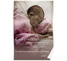 Newborn Baby Girl Remembering Her Brother Poster