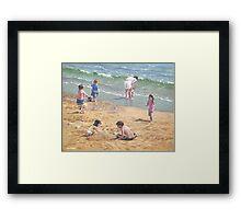 people on Bournemouth beach kids sand Framed Print