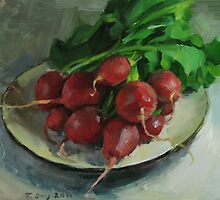 Radishes on a White Plate by Nicholat
