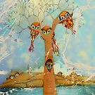 tree of love owls by Karin  Taylor