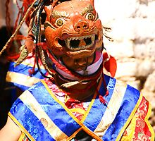 Masked Monk #2, Tashiling Festival, Eastern Himalayas, Central Bhutan by Carole-Anne