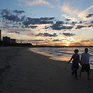 Sunset Stroll along Coolangatta Beach by Graham Mewburn