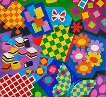 Color And Chapes With Squares - English Liquoris - Brush And Gouache by RainbowArt