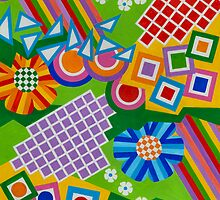 Color And Shapes With Squares And 2 Big Flowers - Brush And Gouache by RainbowArt