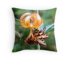 Tiger Lily and Swallowtail Throw Pillow