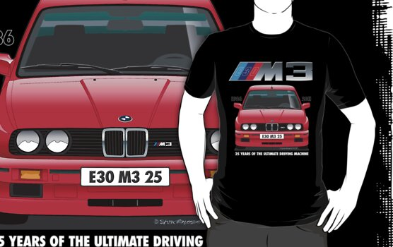 BMW E30 M3 25th Anniversary (Red Sport Evo) White Text by Sharknose