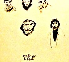 THE BAND ~ 1969 ink group portrait by Stacey Lazarus
