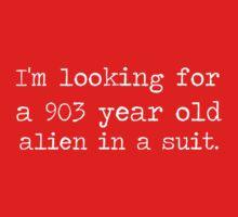 903 year old alien in a suit. by inkandstardust