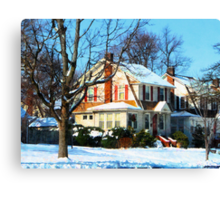 House Down the Street in Winter Canvas Print