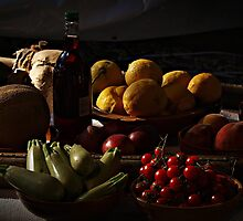 Still life of Fruit with Vegitables and Wine by Anthony Vella