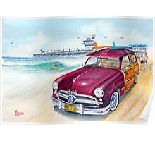 A Day at the Beach with my 49 Ford Woody Poster