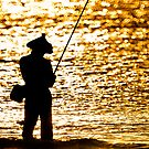 Fisherman on Golden Sea by JohnKarmouche