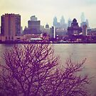Vintage View of Philadelphia From Afar by Lauren Neely
