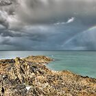 Rainbow in storm clouds, Pointe de Saint Cast  by Gary Eason + Flight Artworks