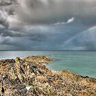Rainbow in storm clouds, Pointe de Saint Cast  by Gary Eason + Flight Artworks