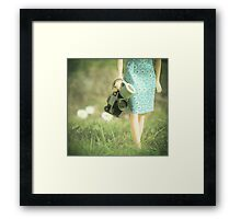 camera in one hand & coffee in the other ................. Framed Print