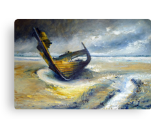 Wreck at Fleetwood Marshes Canvas Print
