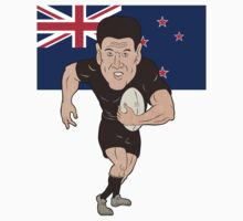 Rugby player running ball New Zealand flag Kids Clothes