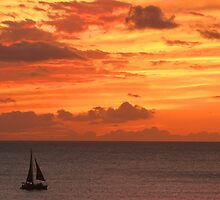 New Years Eve Sunset over Oahu  by Gregory L. Nance