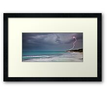 Lightning over Burns Beach Framed Print