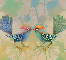 little love birds blue by Karin  Taylor