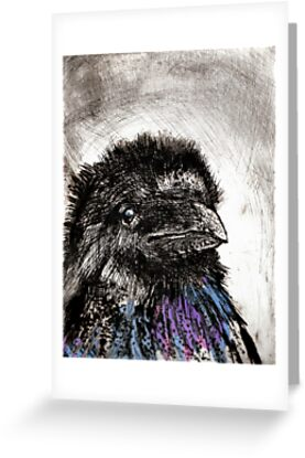 Young Crow - etching with Chine Colle by Pat  knight