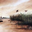 Among the Reeds - Oil painting (1978) by Martin Lomé