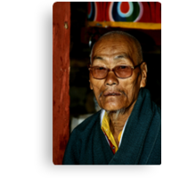 Old Man with a Beard, Bhutan  Canvas Print
