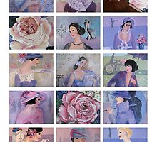 French Belles and Roses Collage by Marie Theron