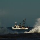 Fishing trawler in stormy weather. by myraj