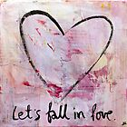 Let&#x27;s Fall in Love - Heart Sketch Mixed Media Painting by DanielleQ
