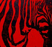 Zebra lino print on red paper by CSSART