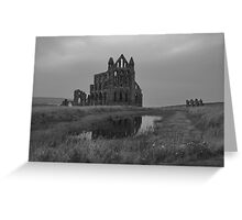 Whitby Abbey, North Yorkshire, UK in B&W Greeting Card
