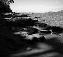 Rocks at Eaglehawk Neck in monochrome by Elana Bailey
