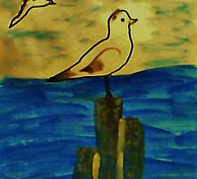 Seagulls coming in to perch, Bird series, watercolor by Anna  Lewis