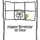 Birthday card - dog with flowers by Kenneth Krolikowski