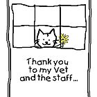 Thank you to vet - cat with flowers by Kenneth Krolikowski