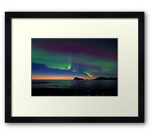 Aurora Borealis & sunset Framed Print